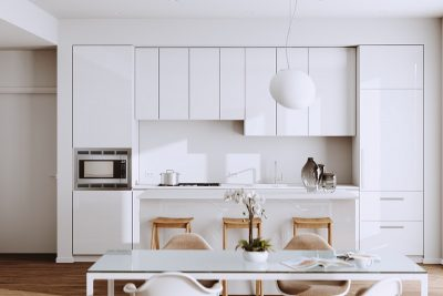 Beautiful White Modern Kitchen in new Luxury Home with  Hardwood Floors, and Vintage Appliances 3d render