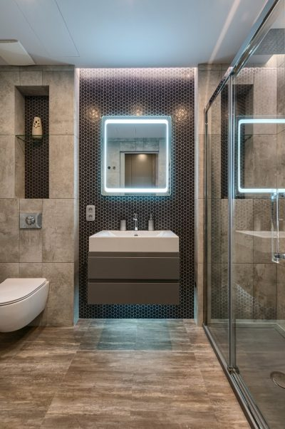 Photo of modern bathroom interior in luxury apartment